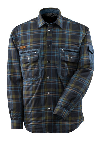 MASCOT® ADVANCED - dark navy/stone blue* - Shirt with CLIMASCOT®, plaid flannel
