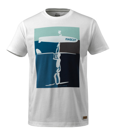 MASCOT® ADVANCED - white - T-shirt with surfer motif, modern fit