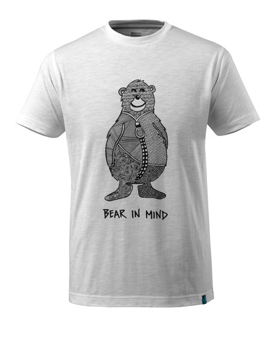 MASCOT® ADVANCED - white - T-shirt with bear logo BEAR IN MIND, modern fit