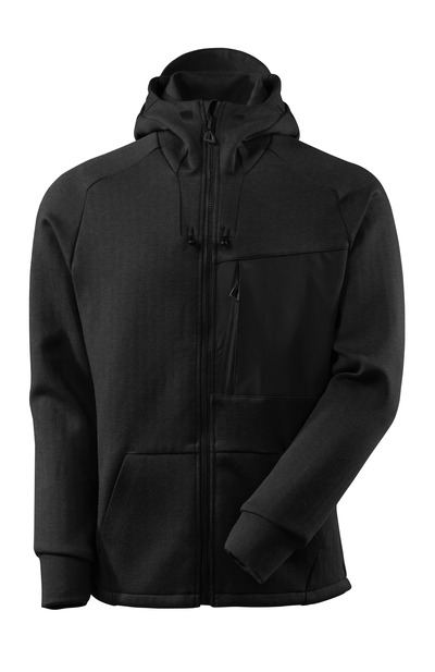 MASCOT® ADVANCED - black-flecked/black - Hoodie with zipper, modern fit