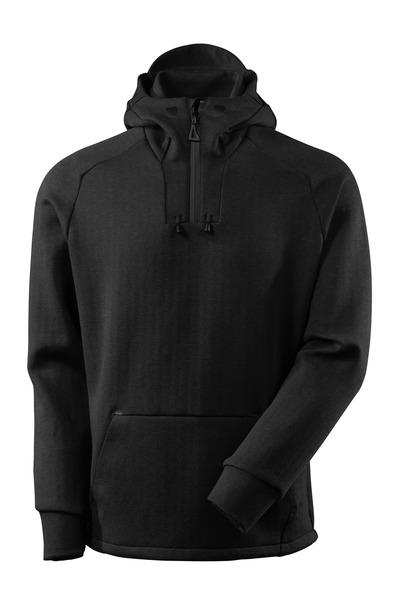 MASCOT® ADVANCED - black-flecked/black - Hoodie with half zip, modern fit