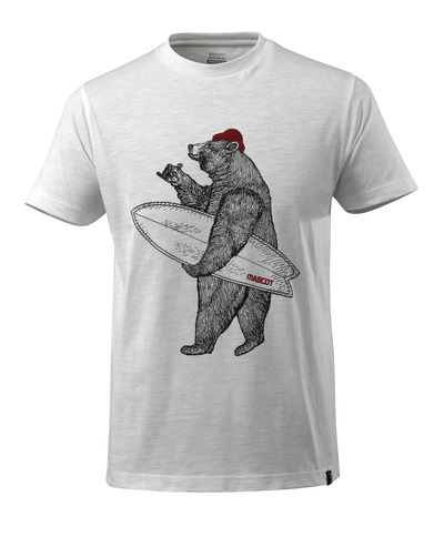 MASCOT® ADVANCED - white* - T-shirt with bear with surfboard, modern fit