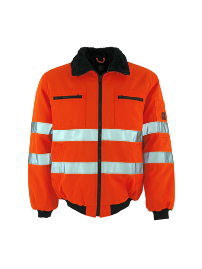 MASCOT® Alaska - hi-vis orange - Pilot Jacket with pile lining, water-repellent, class 3