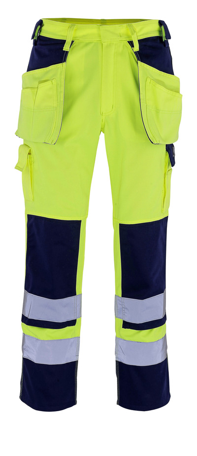 MASCOT® Almas - hi-vis yellow/navy - Trousers with kneepad pockets and holster pockets, class 2