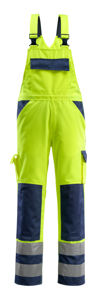 MASCOT® Barras - hi-vis yellow/navy - Bib & Brace with kneepad pockets, class 2