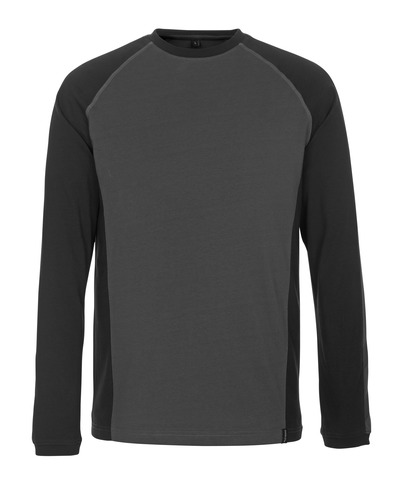 MASCOT® Bielefeld - dark anthracite/black - T-shirt, long-sleeved, modern fit