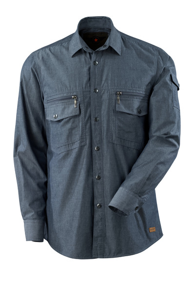 MASCOT® CROSSOVER - washed dark blue denim - Shirt chambray with mesh lining, modern fit
