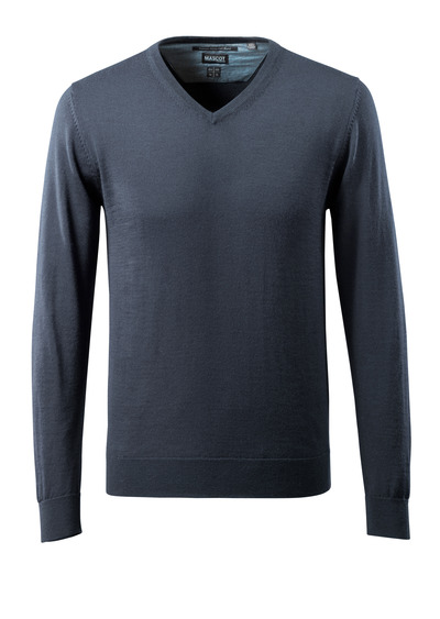 MASCOT® CROSSOVER - dark navy - Knitted Jumper v-neck, with merino wool.