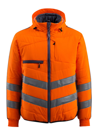 MASCOT® Dartford - hi-vis orange/dark navy - Jacket with lining and hood, water-repellent, class 2