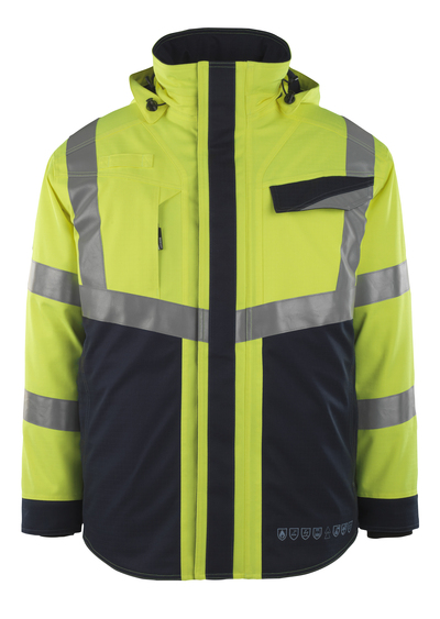 MASCOT® Emmen - hi-vis yellow/dark navy - Winter Jacket with quilted lining, waterproof, multi-protective, class 2