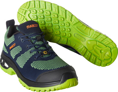 MASCOT® FOOTWEAR ENERGY - dark navy/lime green - Safety shoe S1P with laces
