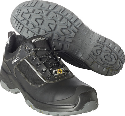 MASCOT® FOOTWEAR FLEX - Black/silver - Safety shoe S1P with laces, full grain buffalo leather
