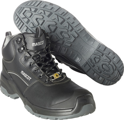 MASCOT® FOOTWEAR FLEX - black - Safety boot (mid cut) S3 with laces, full grain buffalo leather