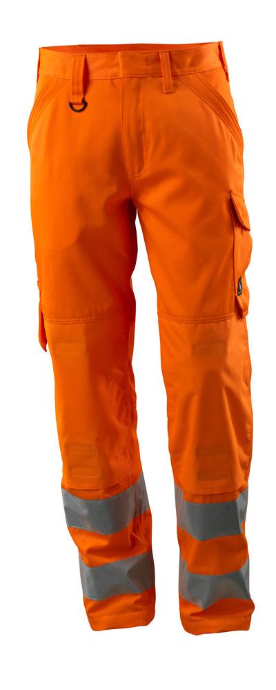 MASCOT® Geraldton - hi-vis orange - Trousers with kneepad pockets, one-tone, class 2.