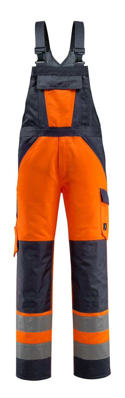 MASCOT® Gosford - hi-vis orange/dark navy - Bib & Brace with kneepad pockets, class 2