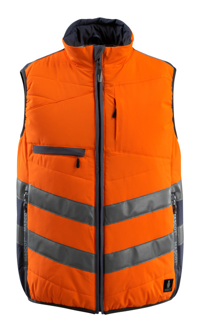 MASCOT® Grimsby - hi-vis orange/dark navy - Gilet, padded, water-repellent, class 1