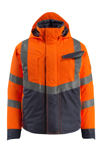 MASCOT® Hastings - hi-vis orange/dark navy - Winter Jacket, padded, waterproof, class 3