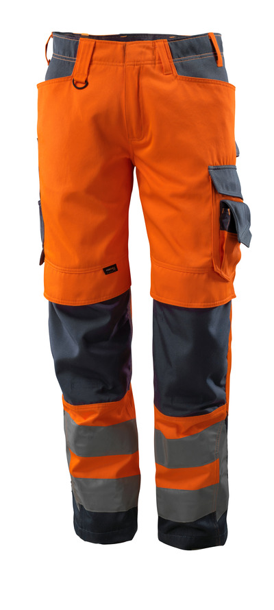MASCOT® Kendal - hi-vis orange/dark navy - Trousers with CORDURA® kneepad pockets, class 2