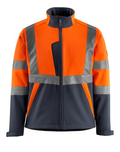 MASCOT® Kiama - hi-vis orange/dark navy - Softshell Jacket with fleece on inner side, class 2