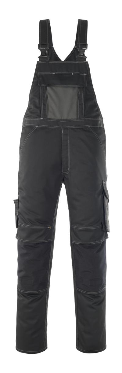 MASCOT® Leipzig - black/dark anthracite - Bib & Brace with kneepad pockets, high durability