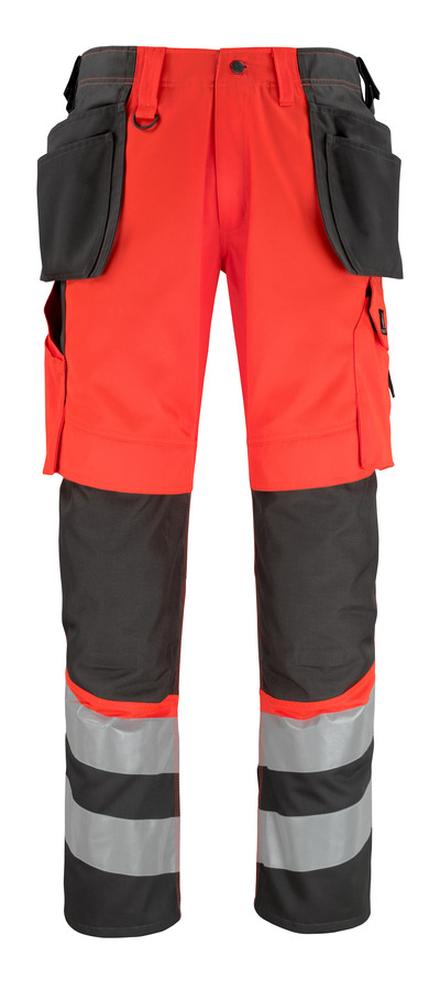 MASCOT® Lixa - hi-vis red/dark anthracite* - Trousers with kneepad pockets and holster pockets
