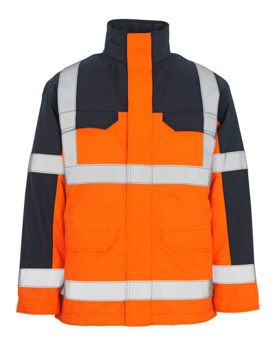 MASCOT® Lungern - hi-vis orange/navy* - Parka with detachable quilted lining, waterproof, multi-protective, class 3/2