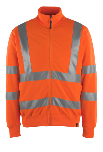 MASCOT® Maringa - hi-vis orange - Sweatshirt with zipper, modern fit, class 3