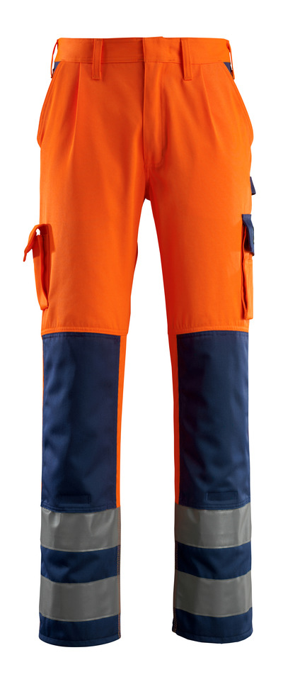 MASCOT® Olinda - hi-vis orange/navy - Trousers with kneepad pockets, class 2