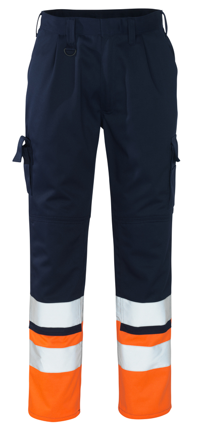 MASCOT® Patos - navy/hi-vis orange - Trousers with kneepad pockets, class 1