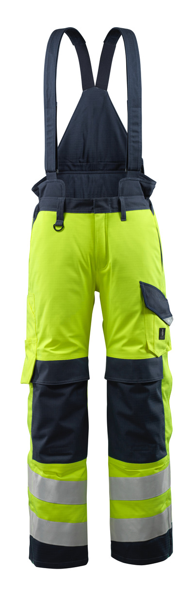 MASCOT® Renens - hi-vis yellow/dark navy - Winter Trousers with quilted lining and removable braces, waterproof, multi-protective