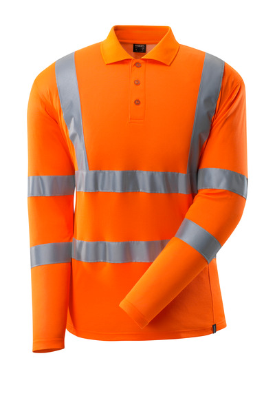 MASCOT® SAFE CLASSIC - hi-vis orange - Polo Shirt, modern fit, long-sleeved, class 3