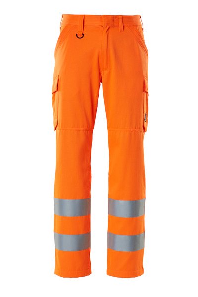 MASCOT® SAFE LIGHT - hi-vis orange - Trousers with thigh pockets, one-tone, class 2