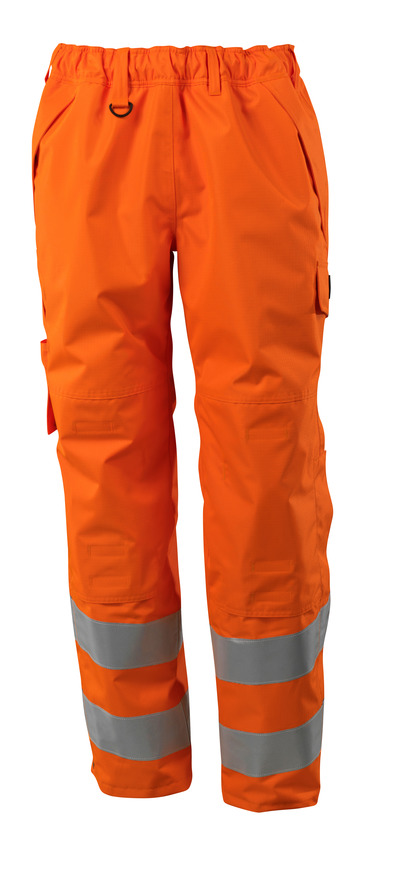 MASCOT® SAFE SUPREME - hi-vis orange - Over Trousers with kneepad pockets, waterproof, class 2