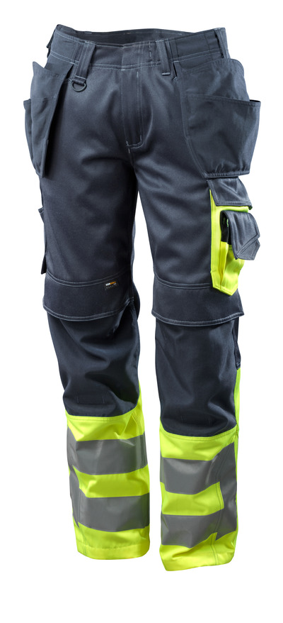 MASCOT® SAFE SUPREME - dark navy/hi-vis yellow - Trousers with CORDURA® kneepad pockets and holster pockets, class 1
