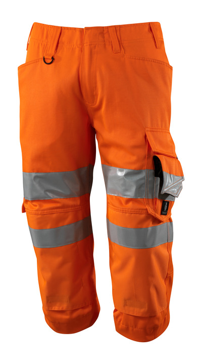 MASCOT® SAFE SUPREME - hi-vis orange - ¾ Length Trousers with kneepad pockets, class 2.