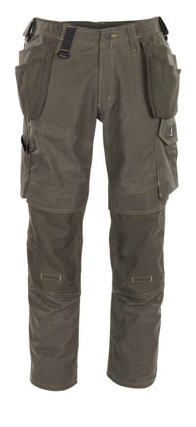 MASCOT® Velho - dark olive with print* - Trousers with kneepad pockets and holster pockets